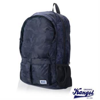 【KANGOL】高容量休閒防潑水機能尼龍後背包(迷彩藍 KG1115-A)
