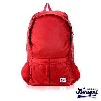 【KANGOL】英式時尚休閒防潑水尼龍大空間後背包(紅 KG1115-01)