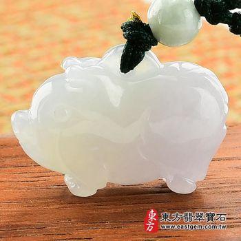 【東方翡翠寶石】豬事如意A貨翡翠花件玉墜(淡綠糯種帶紫羅蘭)PG001