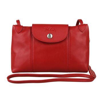 LONGCHAMP Le Pliage Cuir小羊皮系列斜背小包(紅)