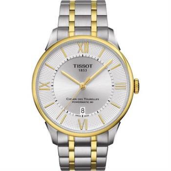 TISSOT 杜魯爾系列機械動力80腕錶-銀x雙色版/42mm T0994072203800