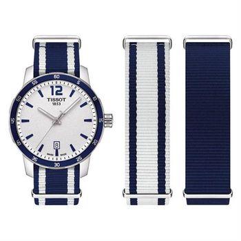 TISSOT QUICKSTER NATO 活力運動腕錶-銀x藍/40mm T0954101703701