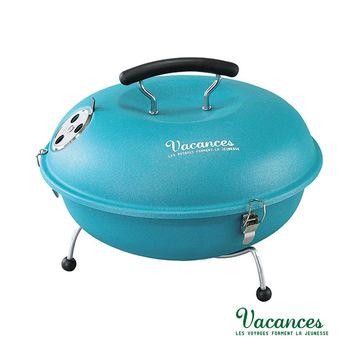 【日本 VACANCES】野餐度假 BBQ 輕量 藍色 馬卡龍造型烤肉爐  / 烤肉 烤箱