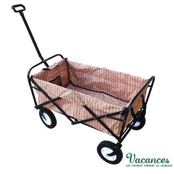 【日本 VACANCES】戶外野餐 簡約風竹編 棕色 折疊式露營購物車 / 野餐