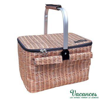 【日本 VACANCES】防藤摺疊式 棕色 保溫保冷(野餐手提籃)