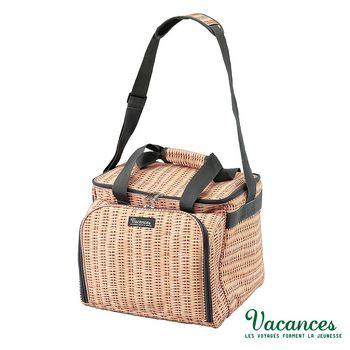 【日本 VACANCES】戶外郊遊 保溫 保冷 棕色 餐具 野餐籃(露營)