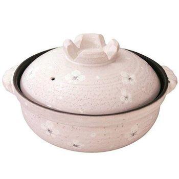 日本製 萬古燒 粉紅白梅 陶土鍋 砂鍋 養生鍋(8號土鍋 3-4人用)