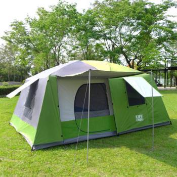 LIFECODE《二房一廳》抗紫外線超大8人帳篷(二門四窗)-藍色/綠色/咖啡色