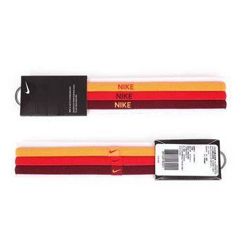 【NIKE】3條入運動頭帶-髮帶 慢跑 路跑 瑜珈 螢光橘紅