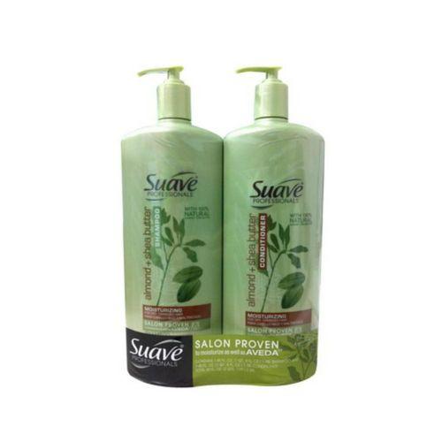 【 洗髮潤絲系列】美國知名品牌 SUAVE 按壓式 洗髮精+潤髮乳組【40oz(1180ml)x2】【杏仁+乳木果油】*3組