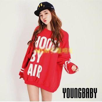 【YOUNGBABY中大碼】HOOD BY AIR袖條紋刷毛寬T.共2色