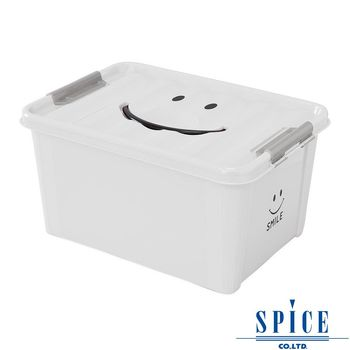 【SPICE】KIDS 馬卡龍色彩 附蓋 微笑整理箱 收納箱 - 白色 M