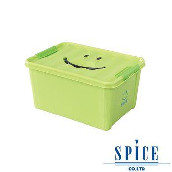 【SPICE】KIDS 馬卡龍色彩 附蓋 微笑整理箱 收納箱 - 綠色 M