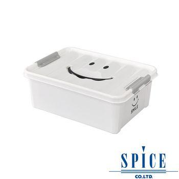 【日本 SPICE】KIDS 馬卡龍色彩 附蓋 微笑整理箱 收納箱 - 白色 S