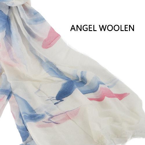 【Angel Woolen】羊絨手繪工藝披肩(墨蘭花)