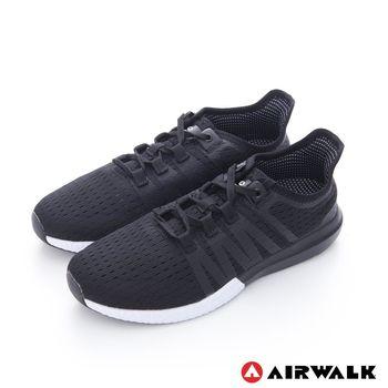 【美國 AIRWALK】萊絲 側V超透氣輕量運動鞋-女- 有氧黑