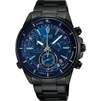 WIRED 日系獨立潮流計時腕錶-藍x鍍黑/42mm VK68-KB30B AY8003X1