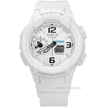 Baby-G CASIO / BGA-230-7B / 卡西歐簡約帥氣世界時間雙顯橡膠手錶 白色 41mm