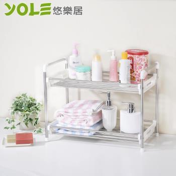 【YOLE悠樂居】雙層廚房多功能置物架#1132037 不鏽鋼置物架 收納 儲物 浴室 廚房 調味料架