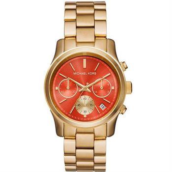 Michael Kors 繽紛玩色潮流計時腕錶-橘x金/38mm MK6162