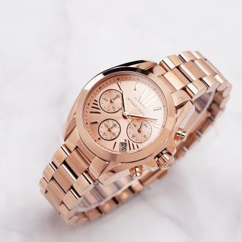Michael Kors 羅馬假期三眼計時腕錶-玫瑰金 MK5799