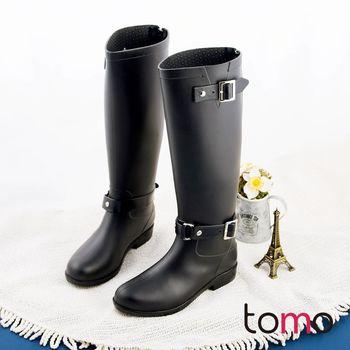 【TOMO】韓版帥氣雙釦低跟騎士長筒雨靴【SMF89519】