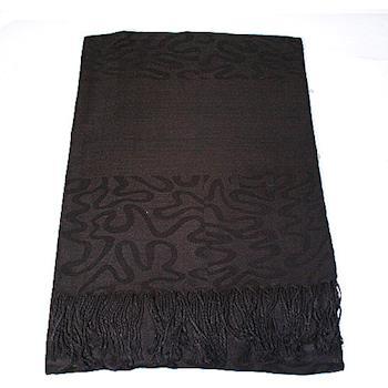暖意單品-變形蟲編織圖騰流蘇圍巾