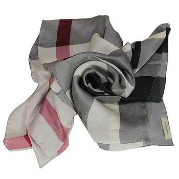 BURBERRY格紋絲綢緞面圍巾(米白色)