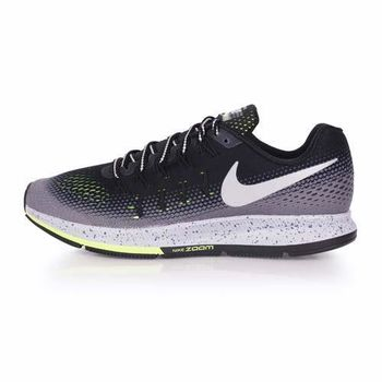 【NIKE】AIR ZOOM PEGASUS 33 SHIELD男慢跑鞋-反光 黑灰