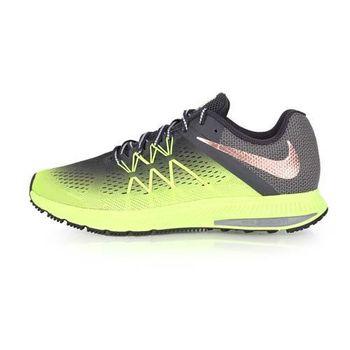 【NIKE】ZOOM WINFLO 3 SHIELD男慢跑鞋-路跑 運動 休閒 螢光綠灰