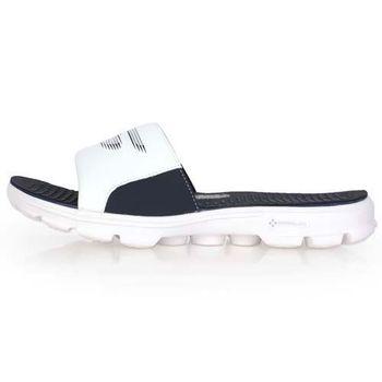 【SKECHERS】GO WALK-DRIFT 男運動拖鞋-游泳 休閒 海邊 白丈青