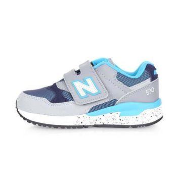 【NEWBALANCE】530系列 男女中童休閒鞋-魔鬼氈 NB N字鞋 淺灰水藍