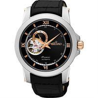 SEIKO Premier 開芯鏤空視窗機械腕錶 ^#45 黑 ^#47 40mm 4R3