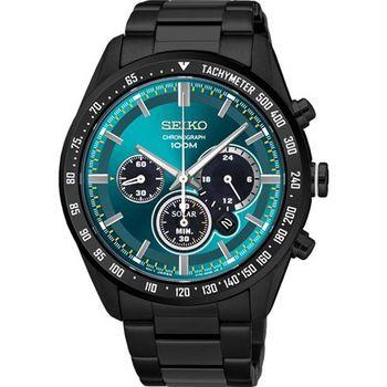 SEIKO Criteria 極速風暴太陽能計時碼錶-綠x黑/42mm V175-0DK0L(SSC475P1)