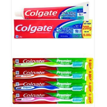 【Colgate 高露潔】三效合一牙膏(200g*12)+【Colgate 高露潔】Premier高效能潔淨細毛牙刷*12支