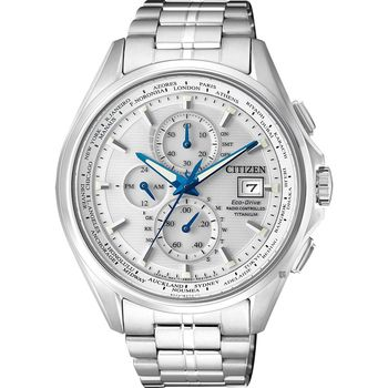 CITIZEN 星辰 Eco-Drive 鈦金屬光動能電波腕錶-銀/43mm AT8130-56A