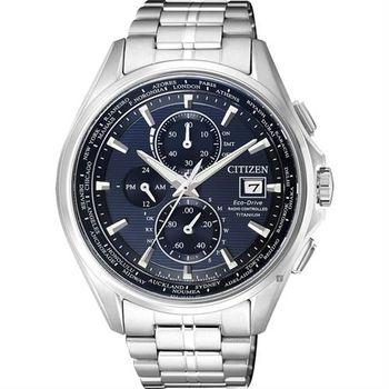 CITIZEN 星辰 Eco-Drive 鈦金屬光動能電波腕錶-藍x銀/43mm AT8130-56L
