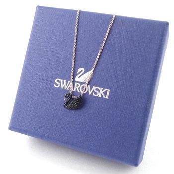 SWAROVSKI 亞州限定swan黑天鵝鎖骨鍊-小