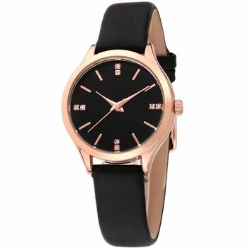 MANGO 微感優雅個性時尚腕錶-黑/31mm