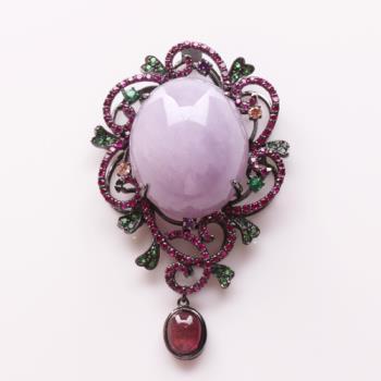 【雅紅珠寶】大紅大紫天然蛋面紫翡翠玉墜子粉墜子