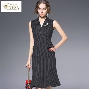 預購【伊凡莎時尚】歐潮修身顯瘦西裝領條紋洋裝(S-XL)