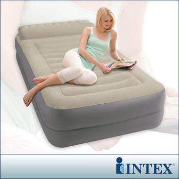 【INTEX】豪華雙層有頭枕單人加大充氣床-寬99cm(附電動幫浦) (67775)