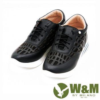 W&M 真皮鏤空透氣休閒運動鞋 女鞋-黑(另有灰)