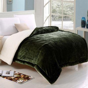 《HOYACASA 綿密暖感-挪威綠》羊羔絨加大厚毛毯