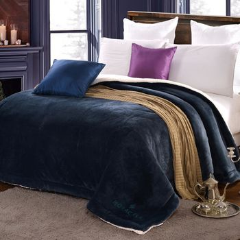 《HOYACASA 綿密暖感-多瑙藍》羊羔絨加大厚毛毯