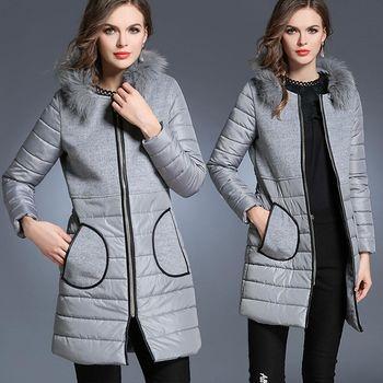 【麗質達人中大碼】灰色毛領大衣外套(L-5XL)