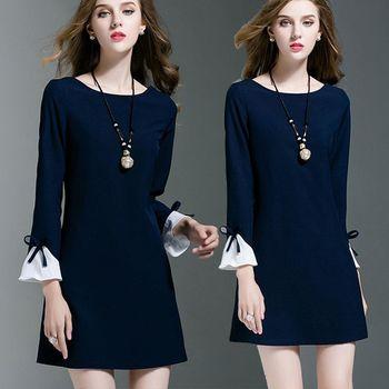 【麗質達人中大碼】藍色簡約洋裝(L-5XL)