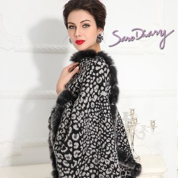 [Saro Diary] 莎蘿日記 純手工  豹點狐狸毛披肩圍巾-9504
