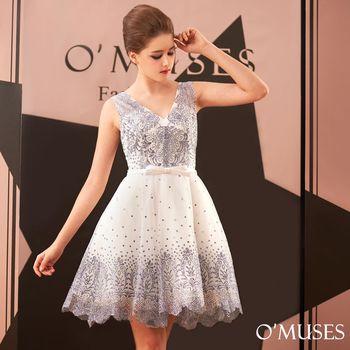【OMUSES】深V銀蔥亮粉婚紗伴娘短禮服18-B8025(S-2L)