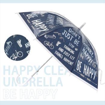 日本 HAPPY CLEAR UMBRELLA HAPPY 深海藍 晴天 雨傘